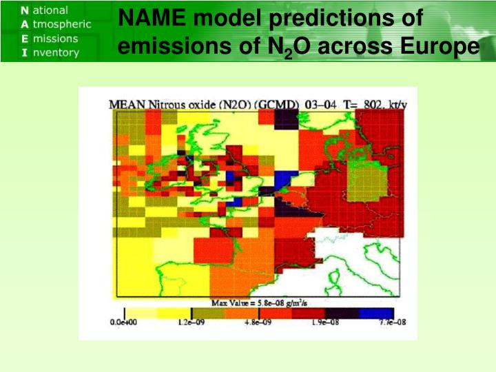 NAME model predictions of emissions of N