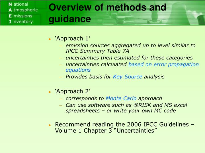 Overview of methods and guidance
