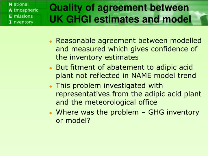 Quality of agreement between UK GHGI estimates and model