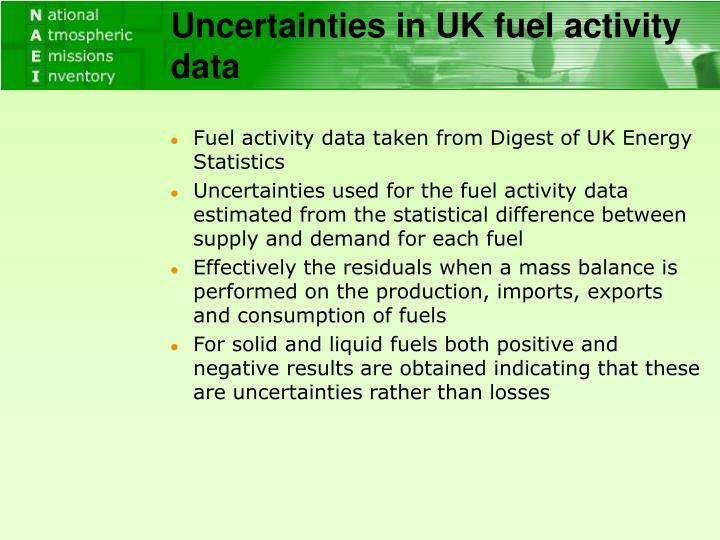 Uncertainties in UK fuel activity data