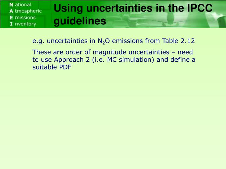 Using uncertainties in the IPCC guidelines