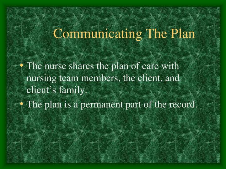 Communicating The Plan