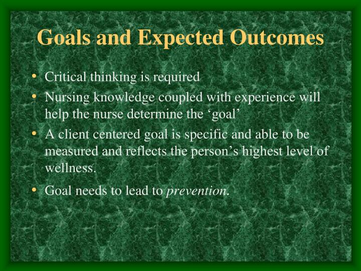 Goals and Expected Outcomes
