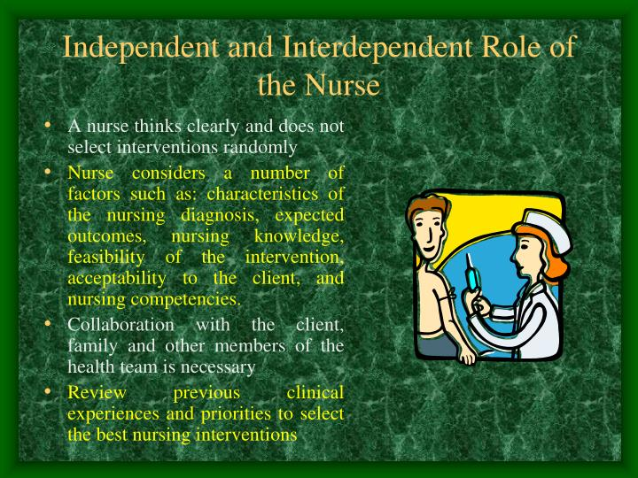 A nurse thinks clearly and does not select interventions randomly