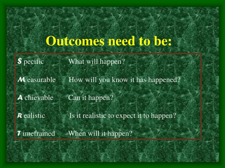 Outcomes need to be: