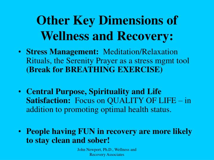 Other Key Dimensions of Wellness and Recovery: