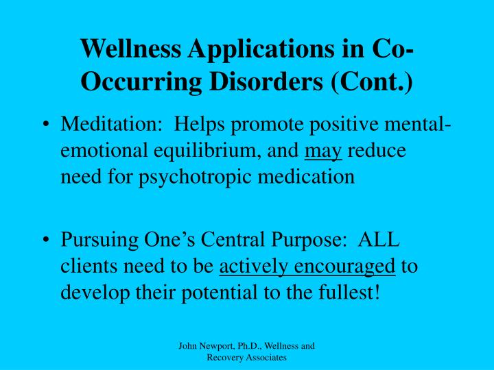 Wellness Applications in Co-Occurring Disorders (Cont.)