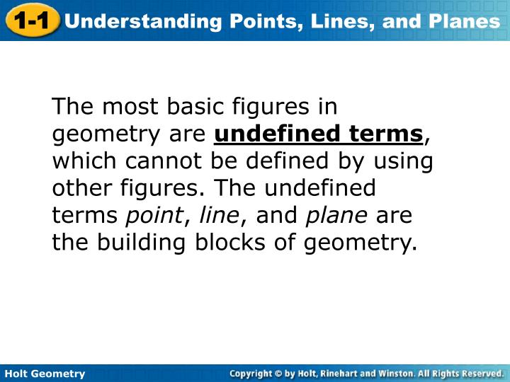 The most basic figures in geometry are