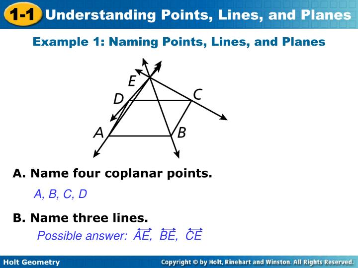 Possible answer:  AE,  BE,  CE