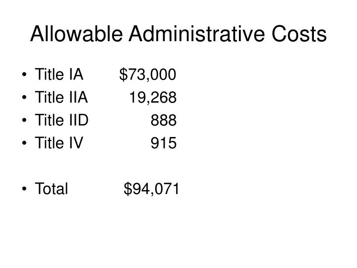 Allowable Administrative Costs