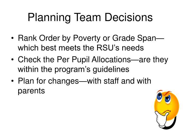 Planning Team Decisions