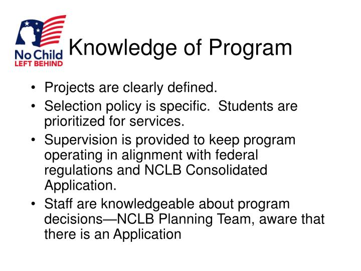 Knowledge of Program
