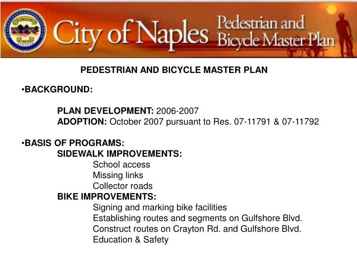 PEDESTRIAN AND BICYCLE MASTER PLAN