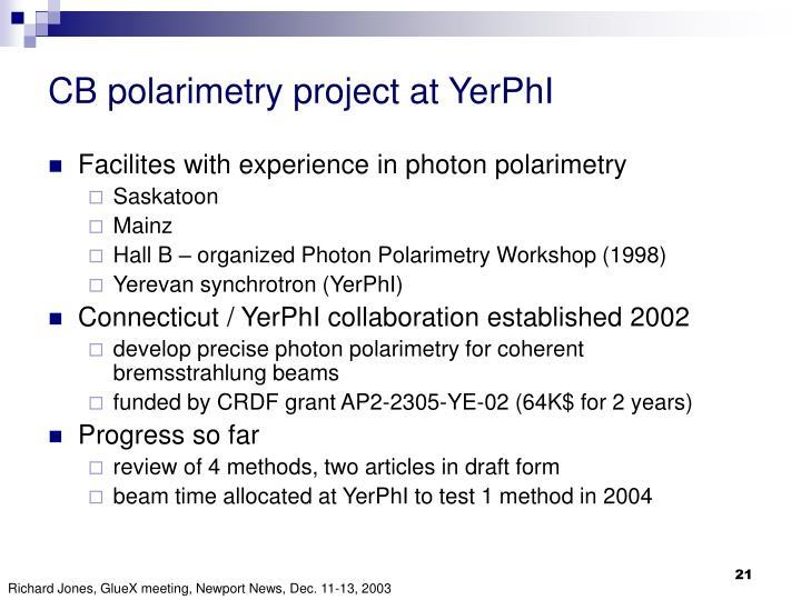 CB polarimetry project at YerPhI