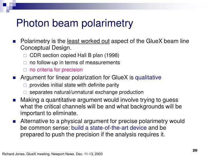 Photon beam polarimetry