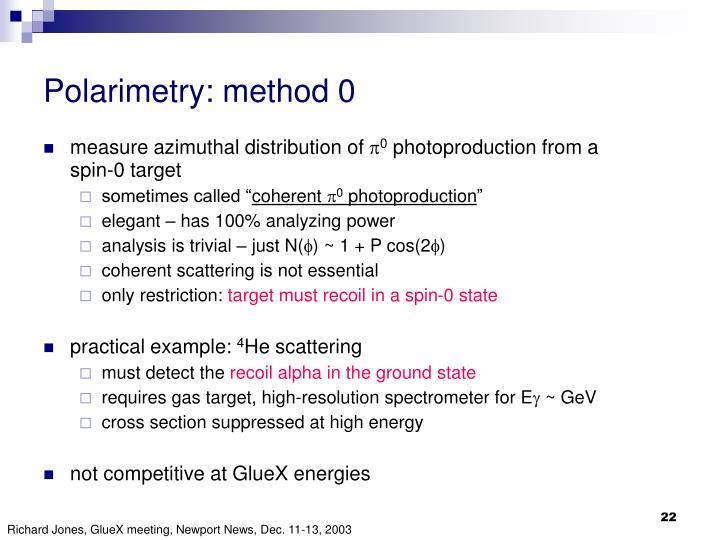 Polarimetry: method 0