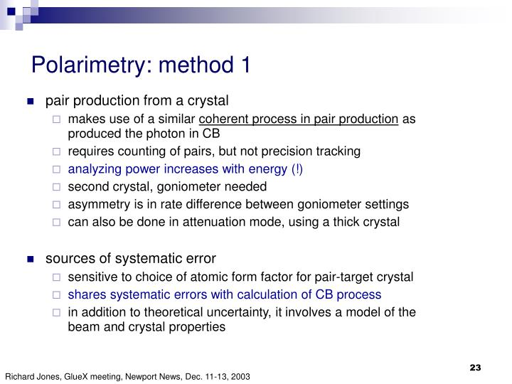 Polarimetry: method 1
