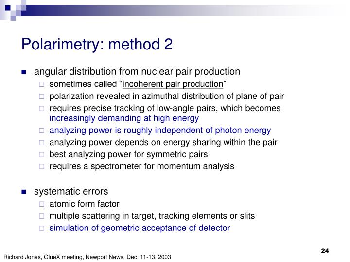 Polarimetry: method 2