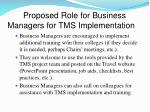 proposed role for business managers for tms implementation3