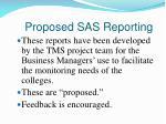 proposed sas reporting