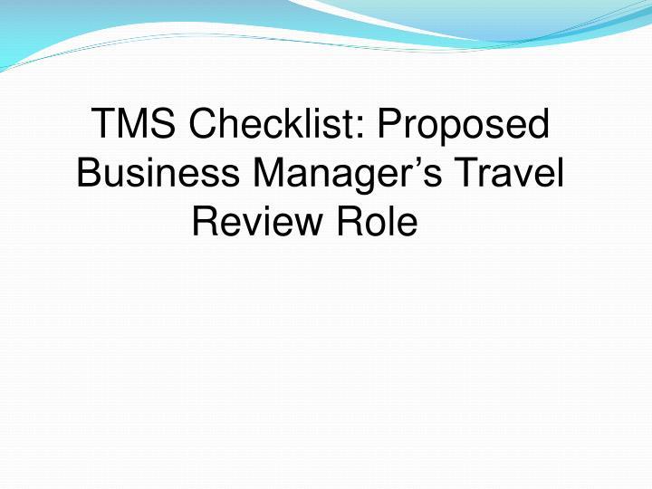 TMS Checklist: