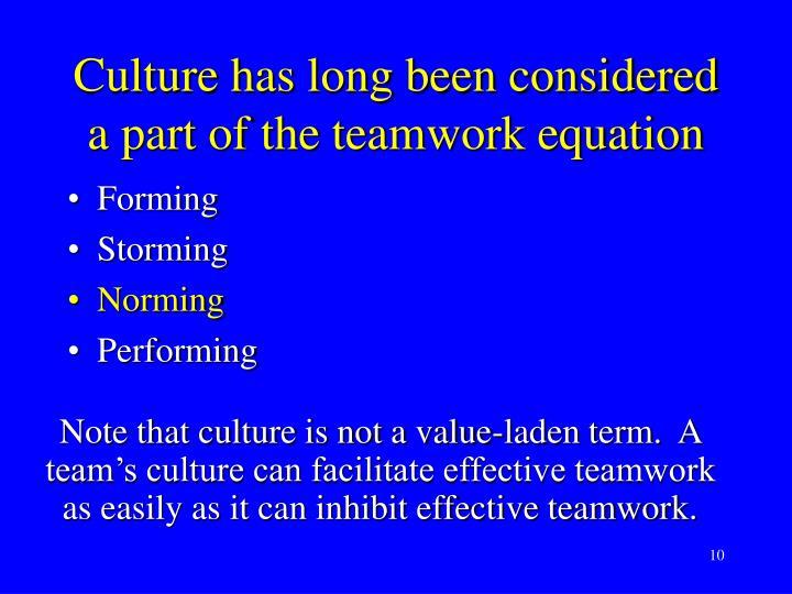 Culture has long been considered a part of the teamwork equation