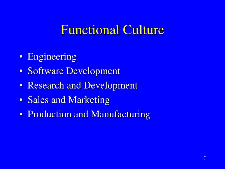 Functional Culture
