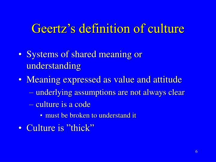 Geertz's definition of culture
