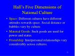 hall s five dimensions of national culture