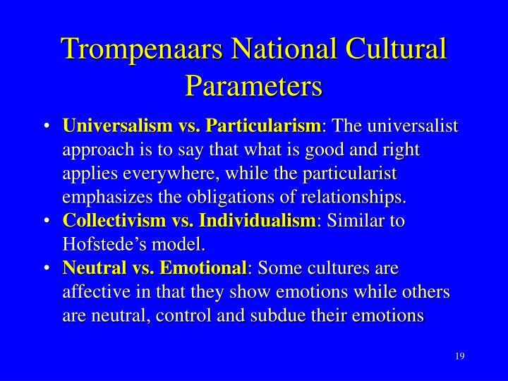 Trompenaars National Cultural Parameters