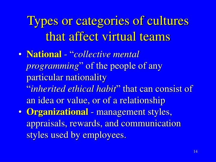 Types or categories of cultures that affect virtual teams