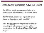 definition reportable adverse event