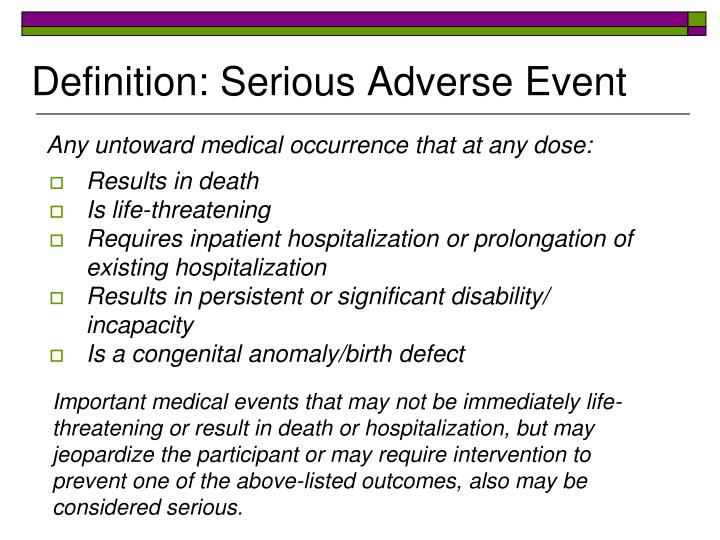 Definition: Serious Adverse Event