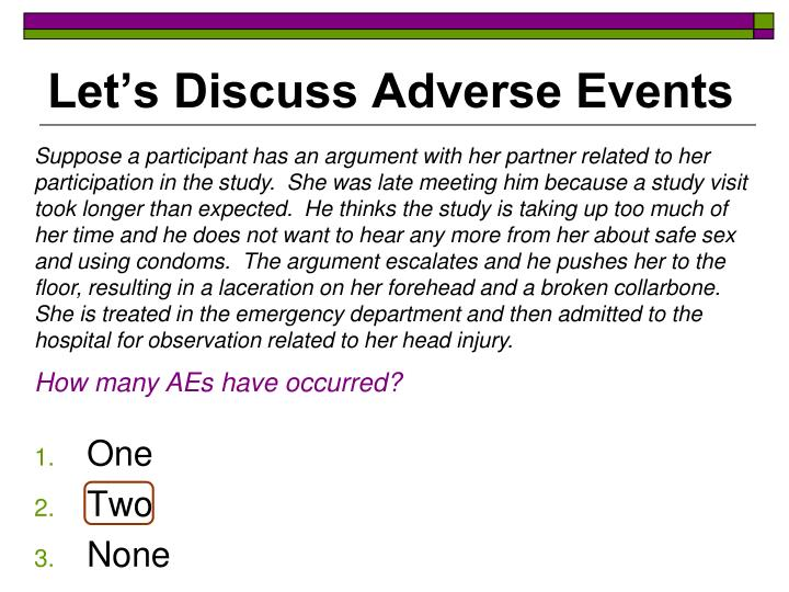 Let's Discuss Adverse Events