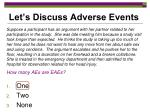 let s discuss adverse events1