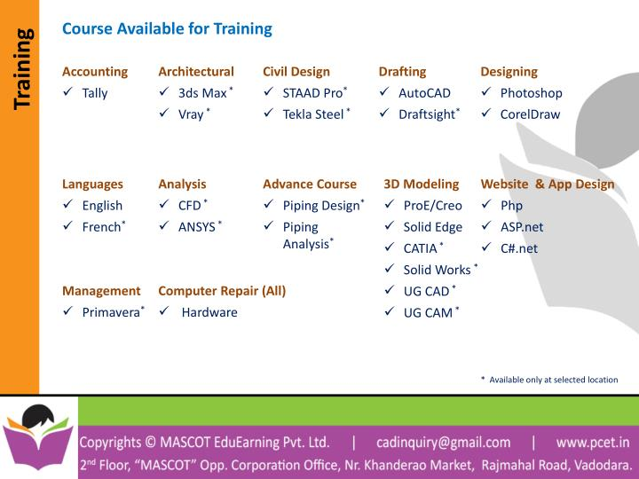 Course Available for Training