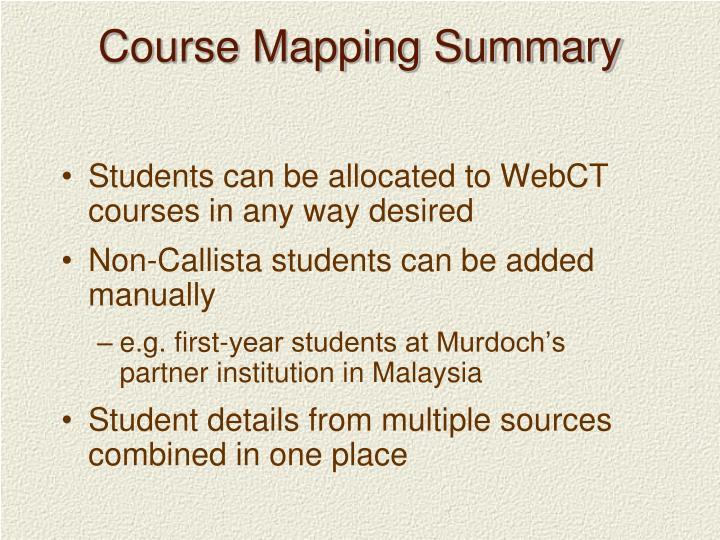 Course Mapping Summary