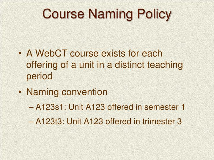 Course Naming Policy