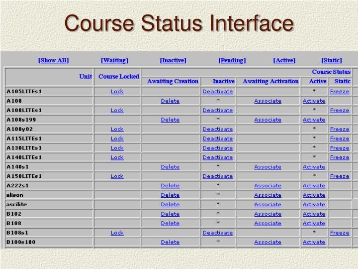 Course Status Interface