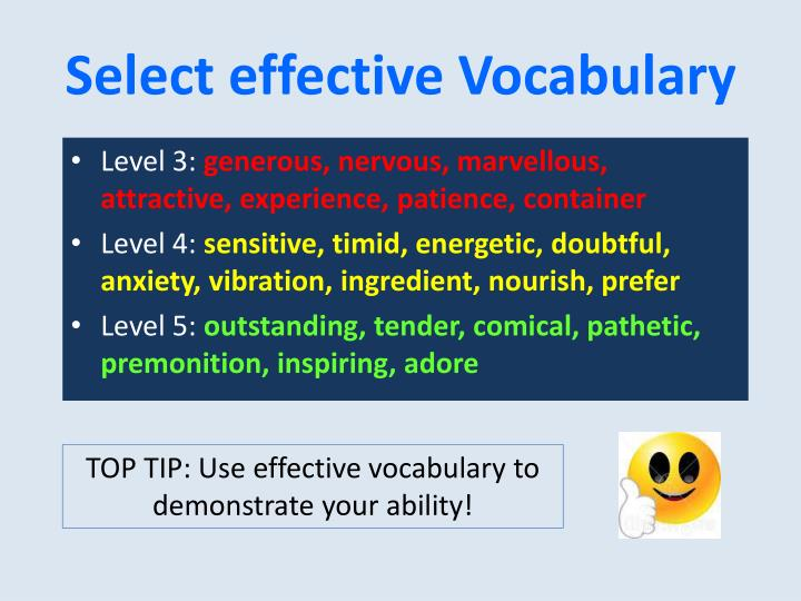 Select effective Vocabulary