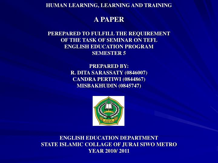 HUMAN LEARNING, LEARNING AND TRAINING
