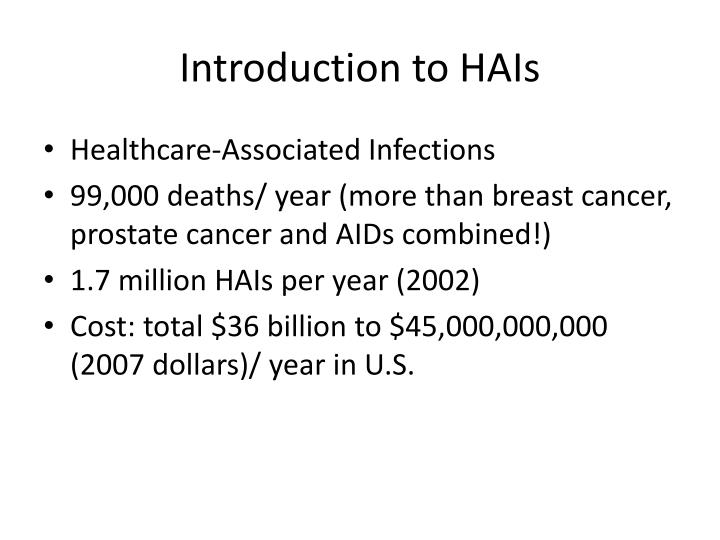 Introduction to HAIs