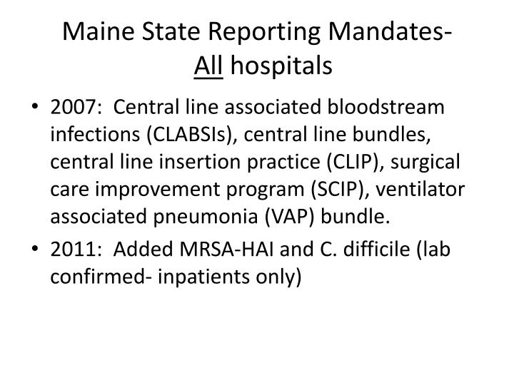 Maine State Reporting Mandates-