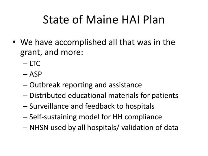 State of Maine HAI Plan