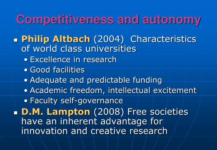Competitiveness and autonomy