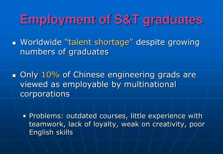 Employment of S&T graduates