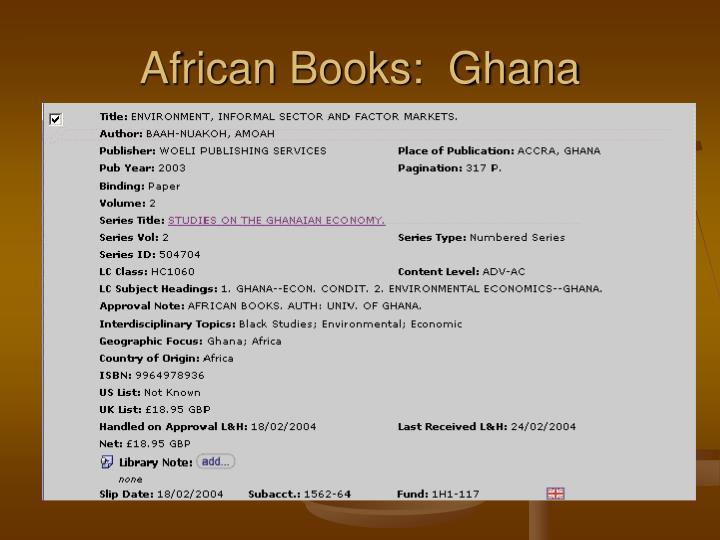 African Books:  Ghana