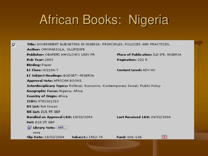 African Books:  Nigeria