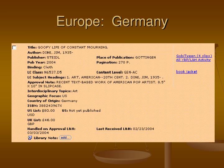 Europe:  Germany