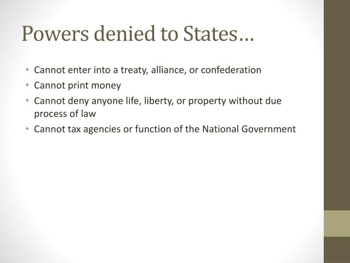 Powers denied to States…